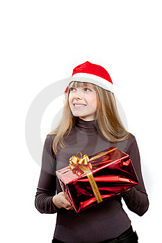 Cute Laughing Girl Holding Red Box Present Stock Photo - Image: 17472040