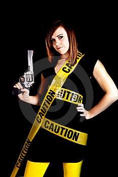 Woman Caution Gun Royalty Free Stock Photo - Image: 17472185