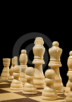 Chess Piece On Board Isolated On Black Stock Photos - Image: 17476703
