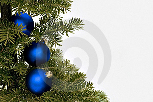 Blue Christmas Glass Balls On The Tree Stock Images - Image: 17478514