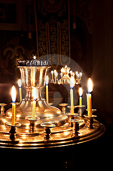 Candles And A Lamp Burning In The Church. Stock Photo - Image: 17481900
