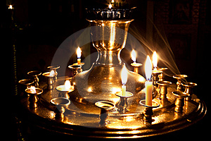 Candles And A Lamp Burning In The Church. Stock Photography - Image: 17481962