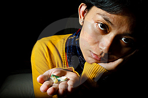 Sick Patient With Various Pills On Hands Royalty Free Stock Images - Image: 17485389