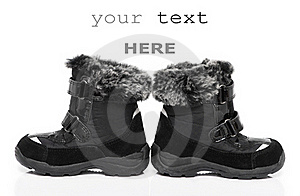 Black Child's Winter Boots Stock Photography - Image: 17486262