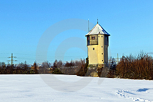 Watertower In  Snow Covered Fields Stock Image - Image: 17493791