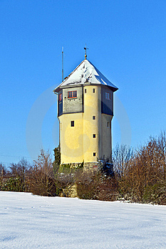 Watertower In  Snow Covered Fields Royalty Free Stock Image - Image: 17493836