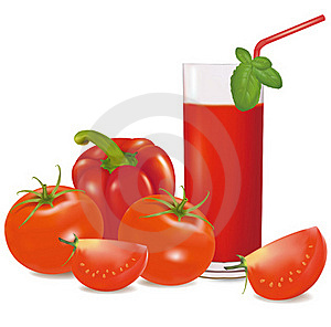 A Glass Of Tomato Juice, Some Tomatoes And Basil. Royalty Free Stock Images - Image: 17494059