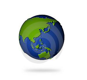 Earth In 3d View. Asia And Oceania Lands. Stock Photography - Image: 17495162