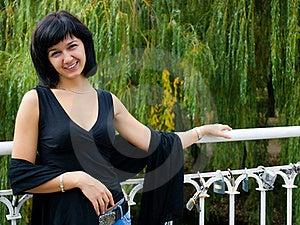Smiling Girl On The Bridge Stock Photo - Image: 17495350