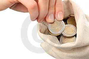 A Sack Filled With Coins Royalty Free Stock Photography - Image: 17495377