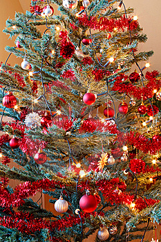 Christmas Decoration On Tree With Light Royalty Free Stock Photos - Image: 17495388
