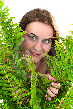 Woman With Fern. Royalty Free Stock Photo - Image: 17495875