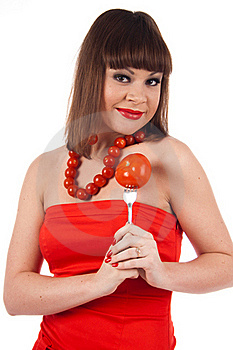 Girl With Tomato Stock Images - Image: 17496104