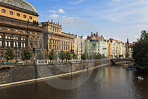 Vltava River Embankment, Prague, Czech Republic Royalty Free Stock Photography - Image: 17497037