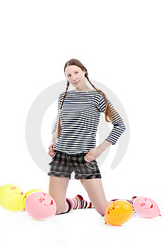 Girl With Baloons Stock Image - Image: 17497611