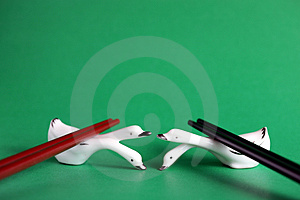 Chopsticks Rest On China Swans. Royalty Free Stock Photography - Image: 1759287