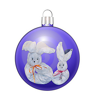 Christmas Sphere With Hares Royalty Free Stock Photos - Image: 17500508