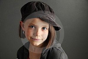 Girl Wearing Newsboy Cap Stock Photo - Image: 17504660