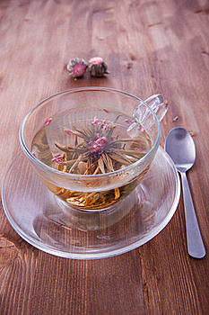 Cup Of Green Tea With Teaspoon Stock Photo - Image: 17504710