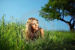 Blonde Under Tree Stock Photo - Image: 17504770