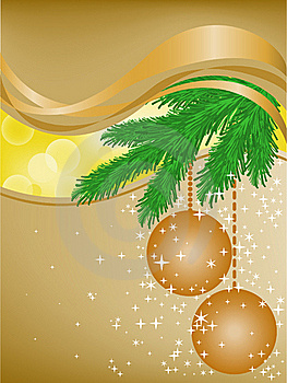 Spruce Branches In The Yellow Glares Stock Images - Image: 17505324