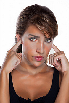 Woman With Fingers In Ears Stock Photo - Image: 17506710