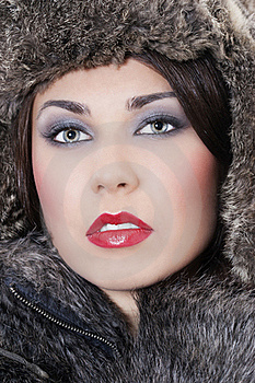 Beautiful Woman In A Fur Coat Stock Photography - Image: 17507952