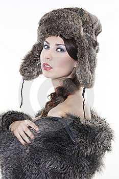 Beautiful Woman In A Fur Coat Stock Photography - Image: 17507962