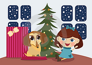 Puppy A Christmas Gift Stock Photo - Image: 17509050