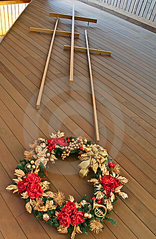 Three Crosses With Christmas Wreath Royalty Free Stock Photos - Image: 17513298