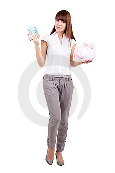 The Girl With A Coin Box And Money Royalty Free Stock Photography - Image: 17514437