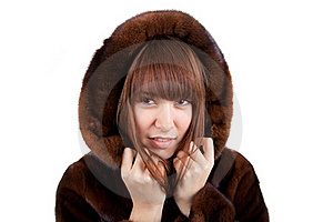 The Girl In A Mink Fur Coat Royalty Free Stock Image - Image: 17514476