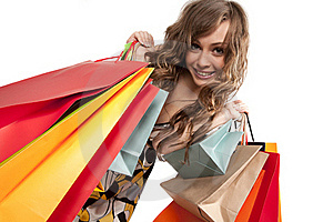Young Woman Admiring Her Shopping Royalty Free Stock Images - Image: 17515759
