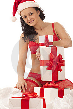 Smiling Girl With Gift Boxes Royalty Free Stock Photo - Image: 17515775