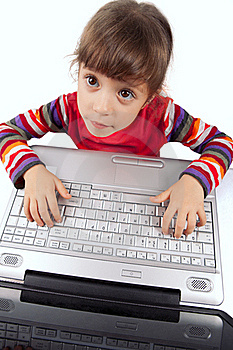 Little Girl With A Laptop Royalty Free Stock Images - Image: 17515849