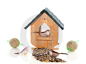 A Birdhouse With Birds And Seeds Royalty Free Stock Photos - Image: 17517468