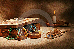 Still-life With Wooden Casket Stock Photos - Image: 17518453