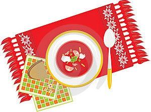 Paraboloïde Avec Le Potage Aux Légumes Sur La Serviette Image stock - Image: 17520051