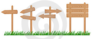 Set Of Wooden Sign With Grass . Stock Images - Image: 17520174