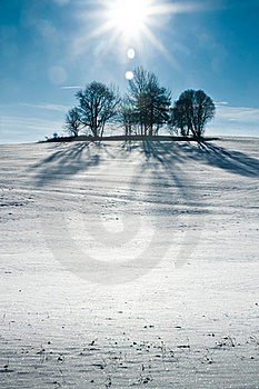 Snowy Hill With Sun Royalty Free Stock Images - Image: 17531269