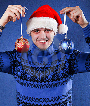 Man In Christmas Hat Stock Photography - Image: 17531482