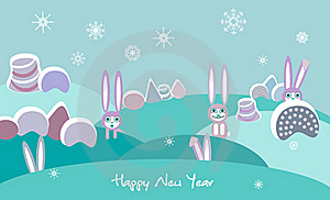 Winter Landscape With Rabbits Stock Photo - Image: 17531760