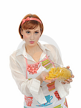 Beautiful Cooking Woman With Italian Pasta Stock Images - Image: 17532594