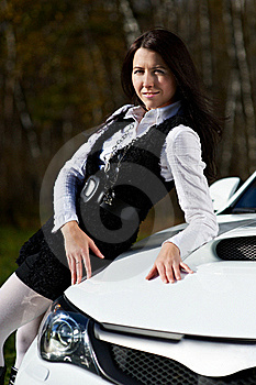 Beautiful Girl Model And Stylish White Sports Car Royalty Free Stock Photography - Image: 17538067