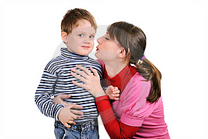 Mum Wants To Kiss The Small Son Stock Photo - Image: 17542340