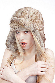 Young Woman In Fur Hat Stock Photo - Image: 17543050