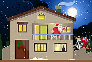 Santa & The Burglar Stock Image - Image: 17545021