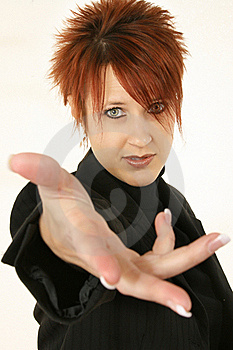 Woman With Hand Out Stock Photo - Image: 17545160