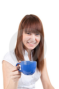 The Girl With A Dark Blue Cup Stock Photos - Image: 17547313