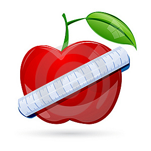 Measuring Tape Around Apple Royalty Free Stock Images - Image: 17548889
